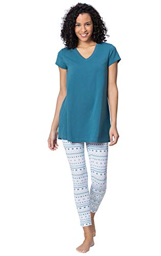 Addison Meadow Damen Pyjama mit Leggings - Blau - X-Small / 2-4 US -