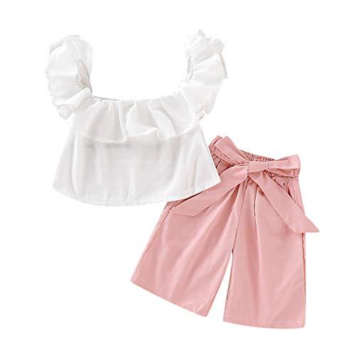 Zegeey MäDchen Baby Bekleidungssets Einfarbig Tops T-Shirts Tee Blusen Strap Bow Hose Sommer 2-Teiliges Geburtstag Geschenk(Weiß,110-120cm) -