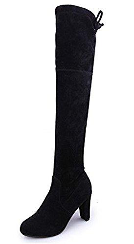 Paris Hill Damen Blockabsatz über das Knie Stiefel Sexy Oberschenkel Wildleder Stiefel Schwarz (Hoher Sexy Knie Stiefel)