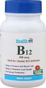 HealthVit Vitamin B12 500mcg 60 Tablets (Brain and Nervous Support)
