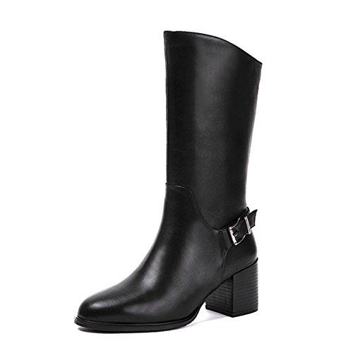 Echtes leder Womens stiefel Tube Mittleren heels Runder kopf Reißverschluss in der seite-schwarz Fußlänge=23.3CM(9.2Inch) (Herren Zip Kleiden Stiefel)