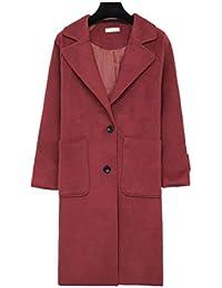 Saoye Fashion Señoras Parka Primavera Otoño Largos Abrigo Lana Elegantes Moda Vintage Classic Gabardina Unicolor Ropa