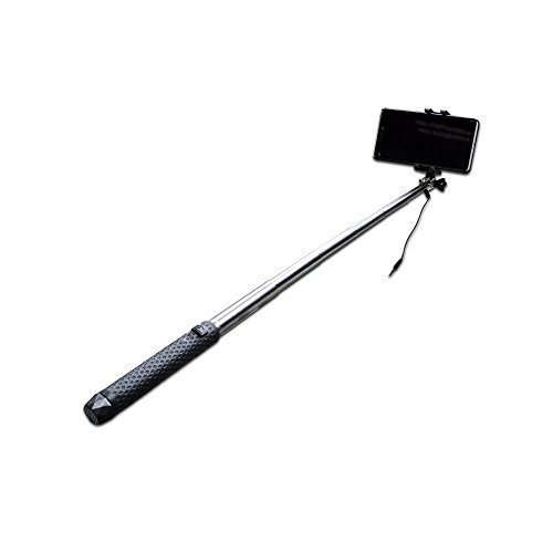 Rugged Splash Proof Mini Pocket Selfie Stick (150-650 mm) AUX for Apple iPhone/Android Mobiles with free carry pouch(Black) by Essot  available at amazon for Rs.349