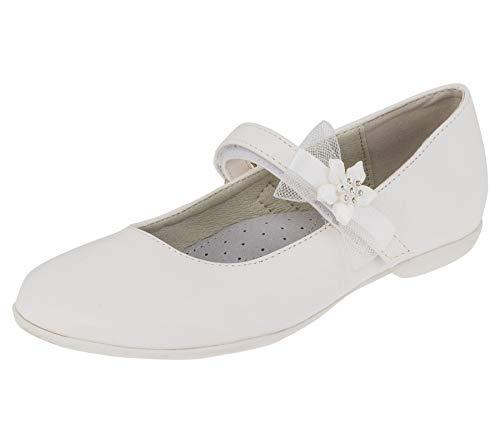 Giardino Doro Edle Festliche Innen Leder Kinder Mädchen Schuhe Ballerinas mit Klettverschluss M524ws2 Weiß 37 EU (Kommunion Schuhe Mädchen)