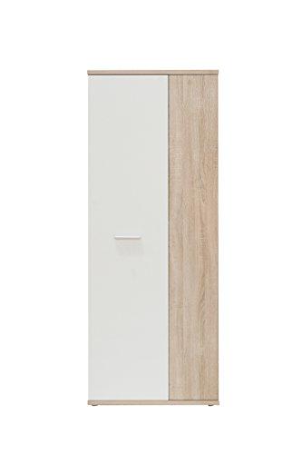FORTE  Schuhschrank, Holz, Sonoma Eiche Dekor + Weiß, 68.90 x 34.79 x 179.1 cm