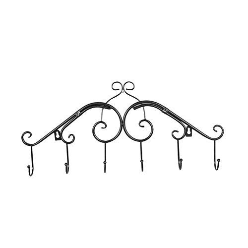 prelikes Vintage Eisen Wand Aufhänger Küche Badezimmer Haken Wandhalterung Rack Dekoration, Eisen, schwarz, 50cm x 5cm x 25cm