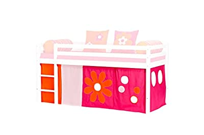 Hoppekids Flower Power Curtains including Wire Rope for Half-High Bed, Fabric, Pink, 90 x 200 cm, 5-Piece