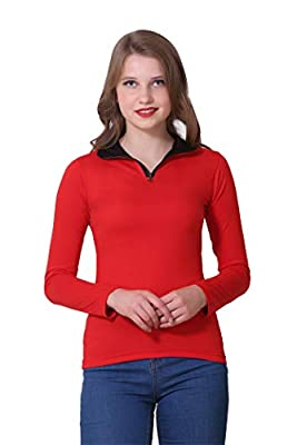 BLUEBELL CLOUD Women's Solid Mock Neck Full Sleeve Casual T-Shirt