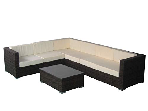 Rattan4Life Korsika Rattan braun/türkis Polyrattan Gartenmoebel Sitzgruppe Lounge Moebel Set Tisch Gartentisch Sessel Sofa Stuhl Kissen Balkon Garten -