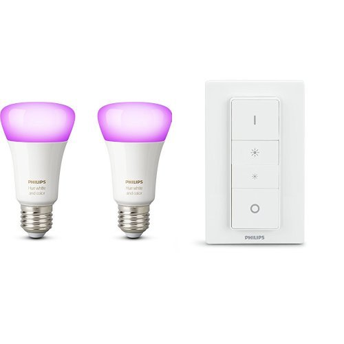 Philips Hue White and Color Ambiance Set 2 Lampadine LED, E27 + Hue Telecomando Dimmer Switch