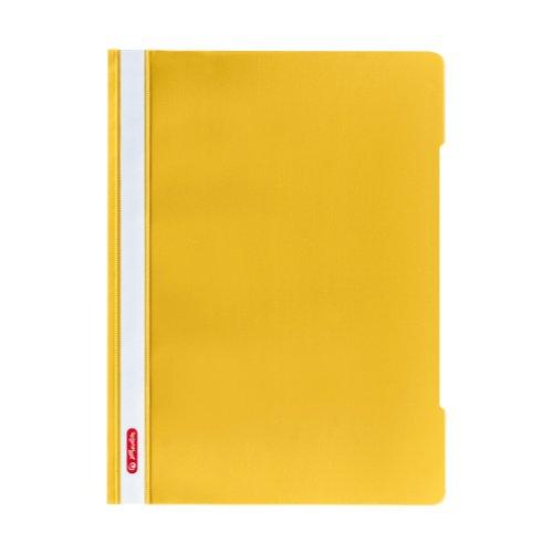 Herlitz 11317112 Schnellhefter A4 - Quality, Polypropylen-Folie, 10-er Packung, Glasklar mit Beschriftungsstreifen, gelb
