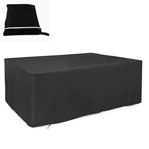 FQJYNLY-Gartenmöbel Abdeckung Terrasse Wasserdicht Rechteck Tischdeckenschutz for Den Außenbereich 210D Oxford Tuch Rattan Hocker, 12 Größen (Color : Black, Size : 126x126x71cm)