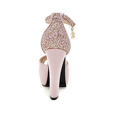 LvYuan Sandali-Matrimonio Casual Serata e festa-Club Shoes-Quadrato-PU (Poliuretano)-Nero Blu Rosa Bianco Black
