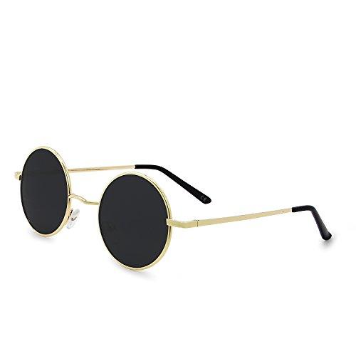 AMZTM Retro Klassisch Vintage Mode Metallrahmen Klein Runde Kreis Polarisierte Sonnenbrille Damen Herren Fahren Brillen UV 400 Schutz (Gold Rahmen Grau Linse, 46)