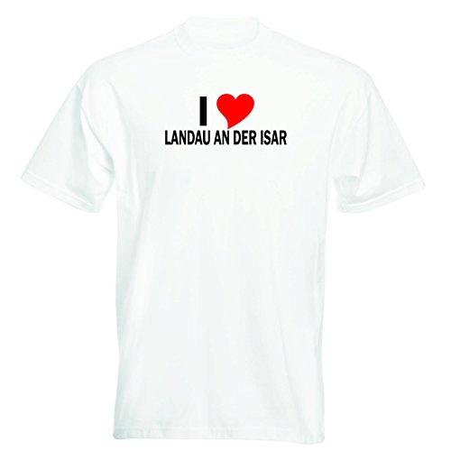 T-Shirt mit Städtenamen - i Love Landau an der Isar - Herren - unisex Weiß