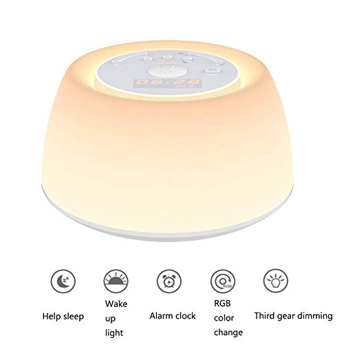 Farbenfrohe Lichter Wake Up Light Sleep Natural RGB Color USB Portable Touch Outdoor Outdoor Table Rhythm Light Breathing Light Multi-Touch Simulation Natural Alarm Clock Timing 9 * 15.5 * 15.5CM - Reise-alarm-sound-maschine