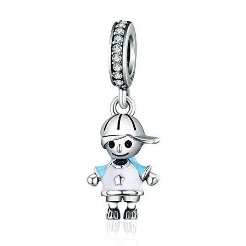 Reiko Kleiner Junge 925 Sterling Silber Charms DIY baumeln Anhänger Perlen für Armbänder oder Halsketten, Halloween Mädchen Frauen, Geschenk-Boxen, Nickel-frei