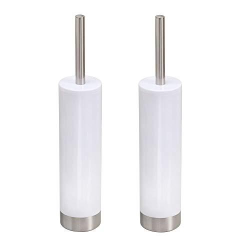 mDesign 2er-Set moderne Toilettenbürste mit WC Bürstenhalter - schmaler Klobürstenhalter - aus Kunststoff mit Akzenten aus gebürstetem Edelstahl - weiß