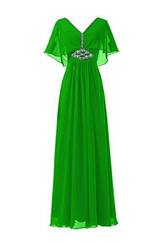 Sunvary Neu V-Ausschnitt Abendkleider Lang Chiffon Ballkleider Partykleider Brautjungfernkleider Grün