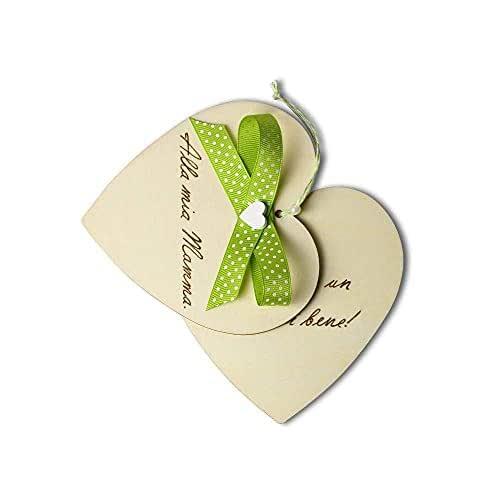 Biglietto auguri Compleanno, Festa della Mamma, cuore in legno personalizzato a mano con dedica