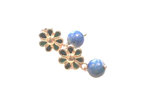 OLD ROMAN FLOWER EARRINGS 24KT PURE GOLD PLATED SILVER 925 HANDMADE