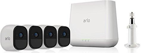 Arlo Pro Smart Home 4 HD-Überwachungskameras und Sicherheitsalarm (100% kabellos, 720p HD, 130 Grad Blickwinkel, WLAN, Bewegungsmelder, Nachtsicht, Innen/Außen, 100 dB Sirene) weiß, VMS4430
