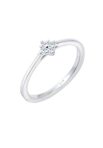 Diamore Damen Solitärring 925 Sterling Silber Diamant weiß 0,08 ct Brillantschliff 0607380416_56 (Echter Diamant Ringe Für Damen)