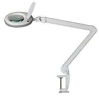 Lumeno Lupenleuchte, Arbeitsplatzlampe, Kosmetiklampe 96 LEDs und grauer Gummischutzkante, für Kosmetiksalons, Praxen, Bastler, Lesehilfe/Vergrößerungslampe/Lupe in 3, 5 oder 8 Dioptrien 3 Dioptrien