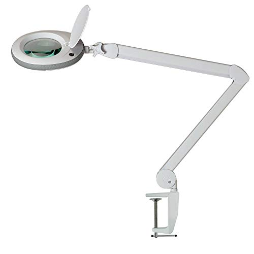 Lumeno LED Lupenleuchte Arbeitsplatzlampe Kosmetiklampe geeignet für Kosmetiksalons Praxen Bastler Lesehilfe Vergrößerungslampe Lupe in 3, 5 oder 8 Dioptrien Grau 5 Dioptrien