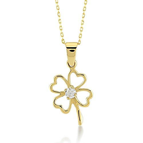 Damen Halskette 14 Karat / 585 Gelbgold Kette mit Anhänger als 4 Blätter Kleeblatt mit eine schöne Zirkonia in der mitte/Kettenlänge: 45 cm