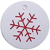Doitsa 100pcs Blanco Redonda Etiquetas de Papel Kraft Etiquetas de Navidad Etiquetas para Regalo, Equipaje, Boda, Tienda étiquettess, diámetro 3,5cm, Flocon de Neige, 3.5CM