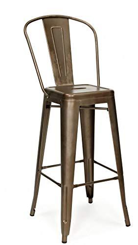 Snug Furniture - Taburetes de Bar de Comedor de Metal galvanizado Industrial Sillas Altas con respaldos - Moho, Juego de 4 sillas