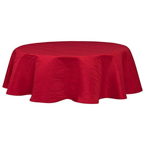 Eugad tovaglie decorative copritavolo idrorepellente elegante tovaglia rotonda impermeabile anti macchia per casa ristorante bar caffè bordeaux 160 cm 0182zb