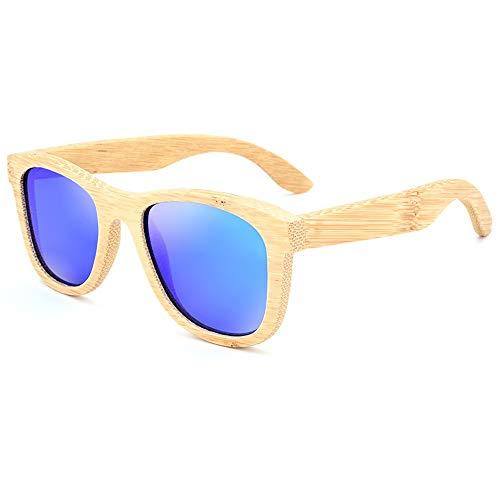 GSSTYJ UV400 polarisierte Bambus-Holz-Sonnenbrille, Beschichtung für Männer und Frauen bei Reisen, Sport im Freien und Aktivitäten/als Geschenk für Freunde und Verwandte (Farbe : Dunkelblau)