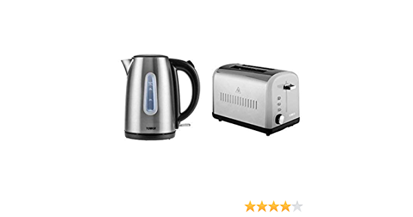 Tower Infinity T10015 T20015 Kettle and 4 Slice Toaster Set Stainless Steel