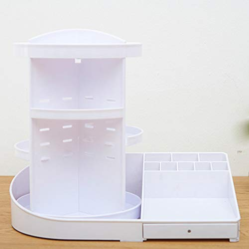 Bod 360 Grado rotación Inferior de la Correa con cajón de Almacenamiento cosmético Estante Maquillaje Estante Maquillaje Caja con Mango de Diamante,White