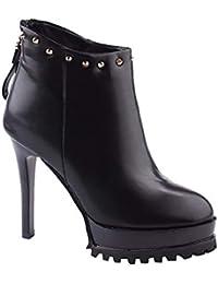 e947ca93 SFSYDDY Zapatos Populares/Impermeable Botas Cortas con Plataforma Tacon  Fino Alto 12Cm Remache Joker Y