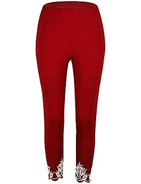 Mujer Pantalones Deporte Leggings Adelgazante Gym con Malla Pantalone Elásticos Malla Fitness Vino Rojo 5XL