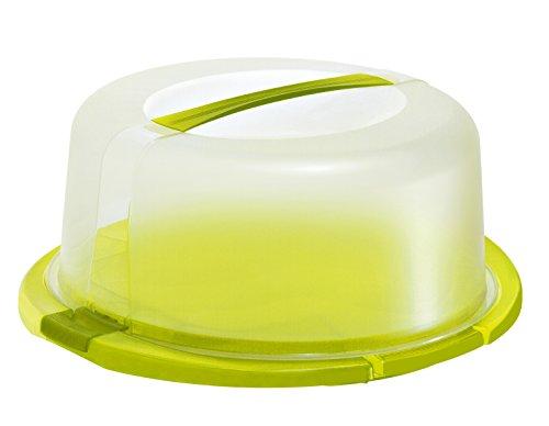 Rotho 1720105070 Tortenglocke Kuchenbutler Cool und fresh aus Kunststoff PP, ideal zum Transportieren Kühlen von Torten, mit Tragegriff Kühlkissen, circa 38 x 34 x 16 cm, transparent / grün