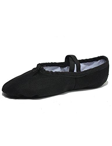 Lily's Locker - Ballettschuhe Mädchen für Kinder und Erwachsene geteilte Sohle klassische Leinen Balletschläppchen Fitness-Gymnastik-Schuhe (schwarz, Rosa) für Ballettunterricht Yoga und Innenaktivitäten geeignet (Schwarz, 26 EU = 17,5 cm (Fußlänge))