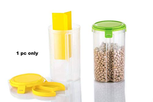 Machak Transparent Plastic 3 Section Lock Food Storage Dispenser Airtight Container Jar for Cereals, Snacks, Pulses (Color May Vary) (1)