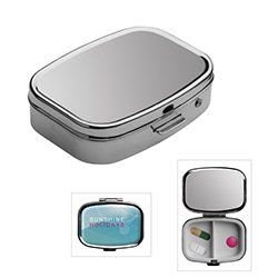 Reflects Pill Box with Two Separate Compartments, Hinged Lid, Firm Closure