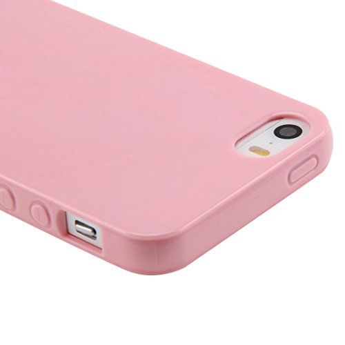 Wkae Case & Cover Lisse TPU de surface pour l'iPhone 5 et 5S ( Color : Yellow ) Pink
