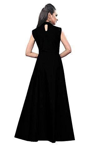 vaidehi creation Women's Twill Tafeta Anarkali Style Gown(Black)