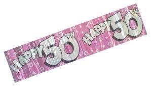 Generic Jumbo Happy 50th Birthday Banner-Hot Pink & Silver-Sterne & Blumen