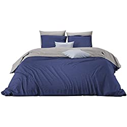 Mistral Home – Wende-Bettwäsche-Set 200x200 cm + 2X Kissenbezüge 80x80 cm Baumwolle Reißverschluss unifarben Anthrazit Dunkel-blau hell-grau 3-TLG