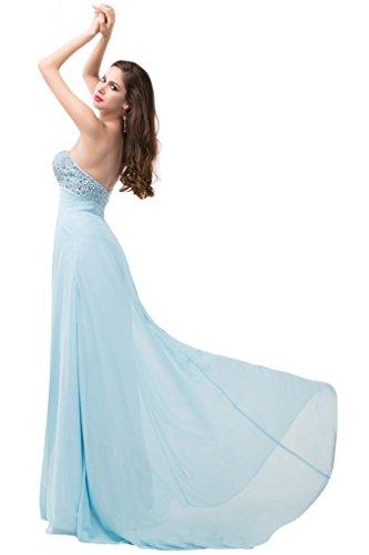 Sunvary semplice, con zircone, con parte posteriore aperta uscita per abiti da sera, design semplice Light Sky Blue