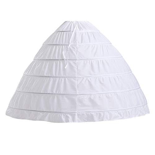 Fenical Krinoline Petticoat Unterrock Ballkleid Rock 6 Hoop Rock Slip für Brautkleid ()