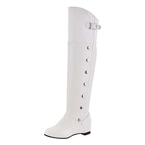 Deloito Winter Wärmer Boots Damen Retro Über Knie Hohe Stiefel Freizeit erhöht Keile Römische Leder Schuhe Buckle Strap Langschaft Ritter-Stiefel (Weiß,39.5 EU) -