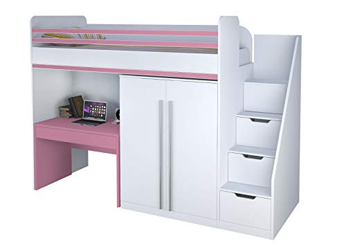 Polini City Hochbett Kombination mit Treppe Kleiderschrank und Tisch weiß rosa